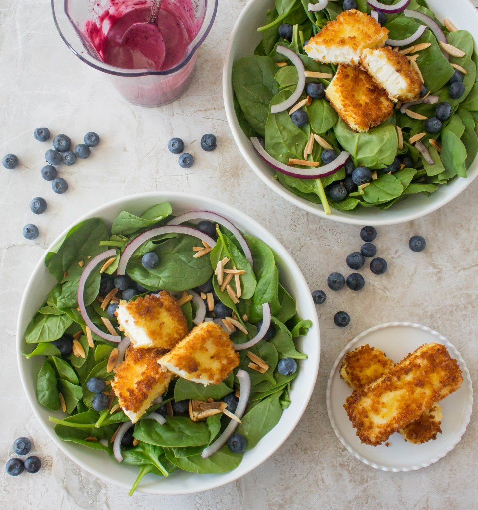 Spinach Salad with Crispy Feta & Blueberry Vinaigrette