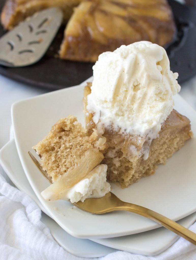 Caramelized Cardamom Pear Upside-Down Cake | yestoyolks.com