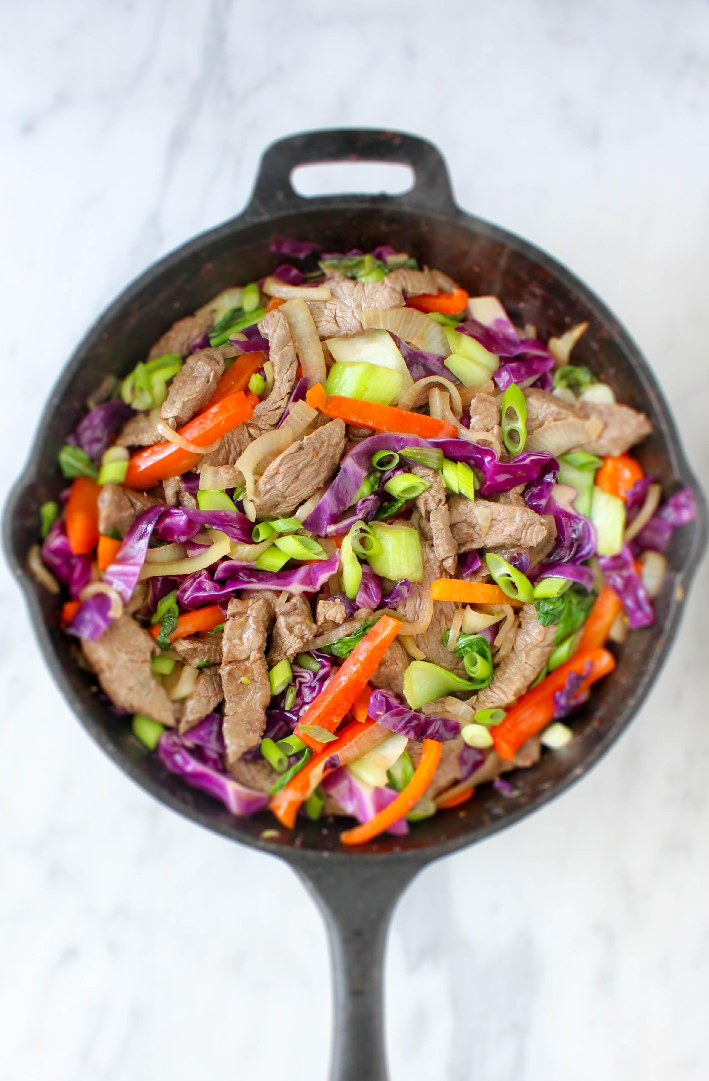 Spicy Coconut Beef & Bok Choy Stir Fry