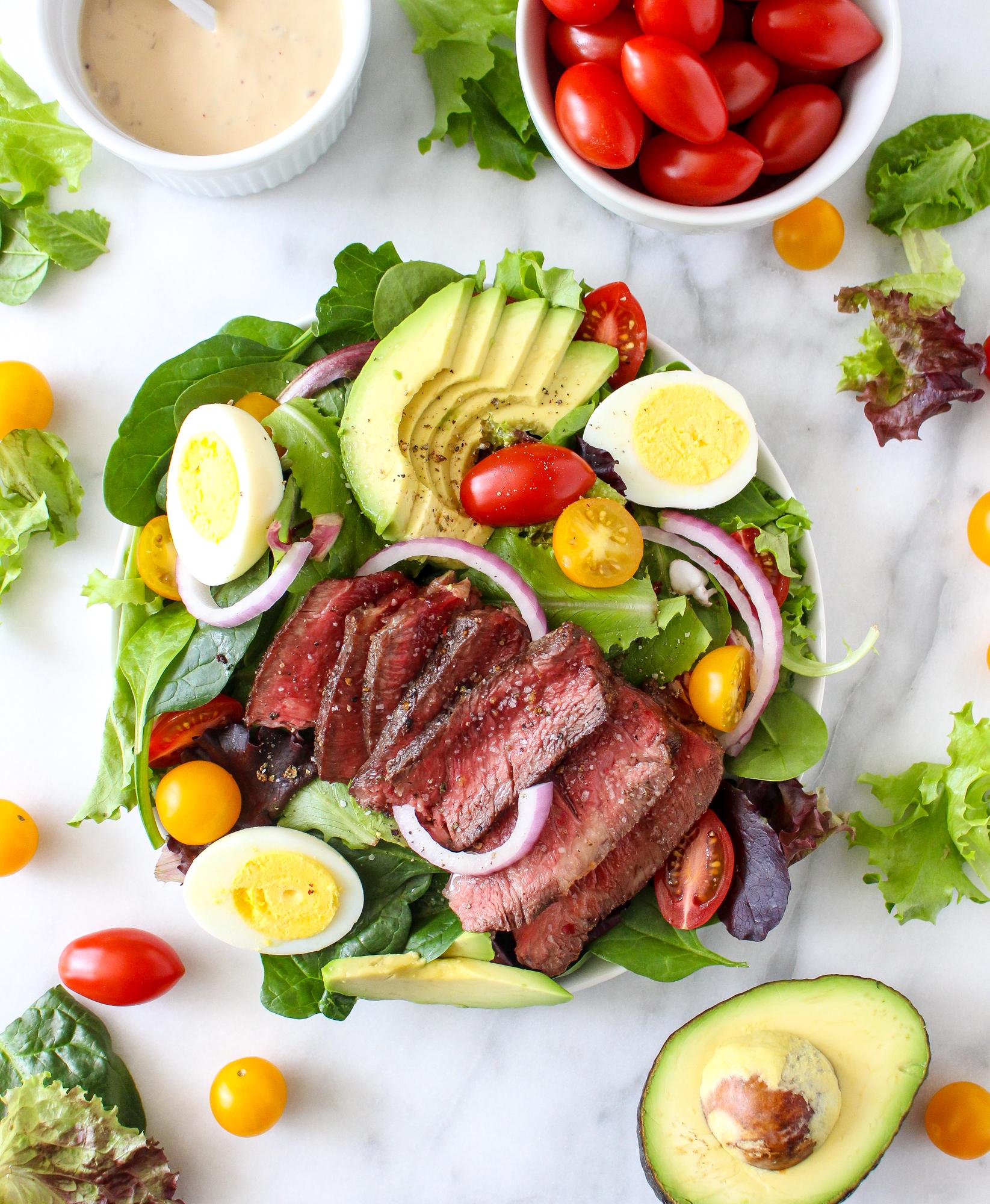 Steak Cobb Salad with Caramelized Onion-Yogurt Dressing