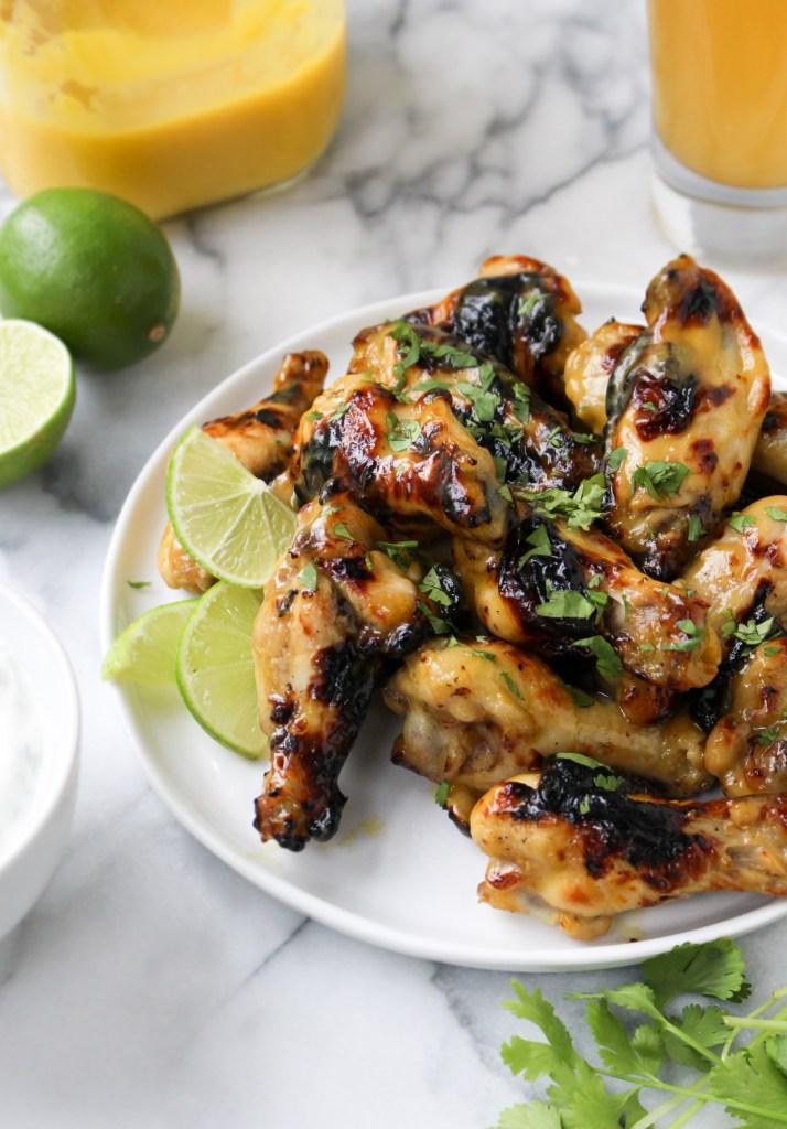 Honeyed Mango Hot Wings with Cilantro-Lime Yogurt Dip | yestoyolks.com