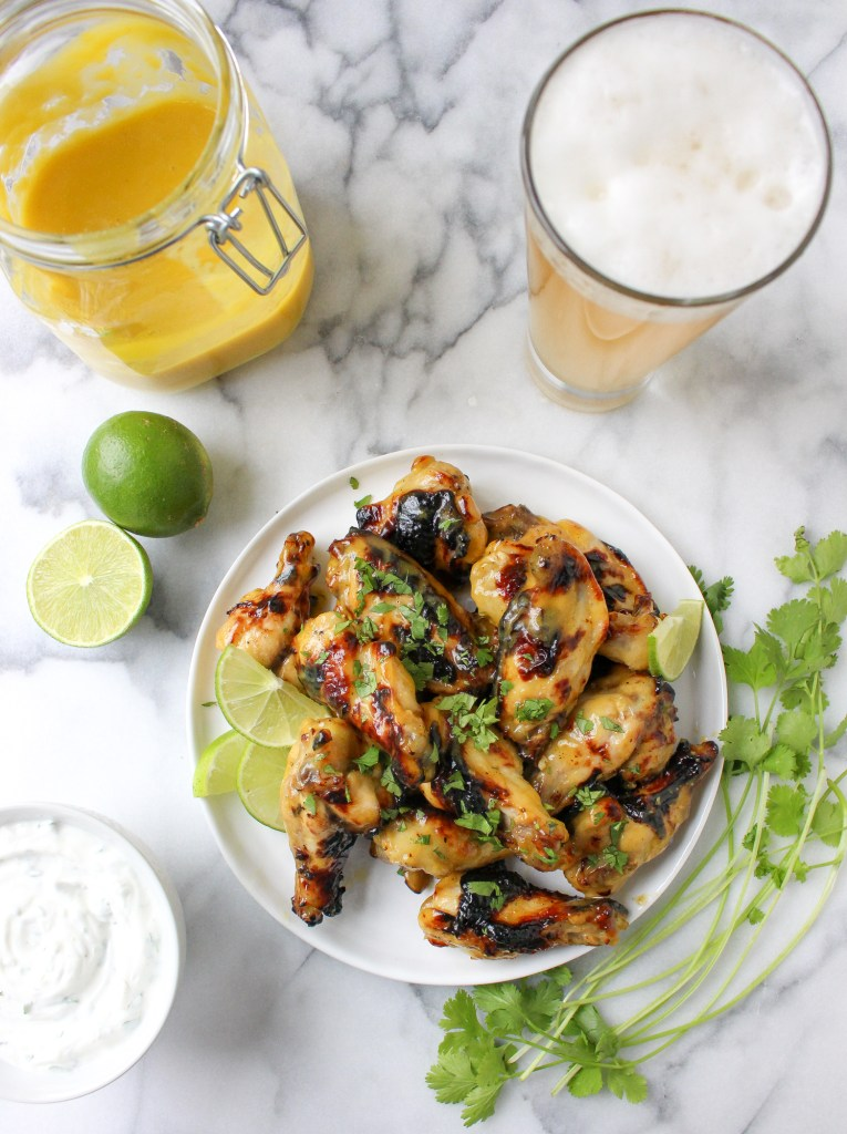 Honeyed Mango Hot Wings with Cilantro-Lime Yogurt Dip | yestoyolks.com