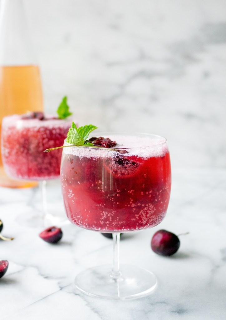 Cherry Sorbet & Rosé Wine Spritzers | yestoyolks.com