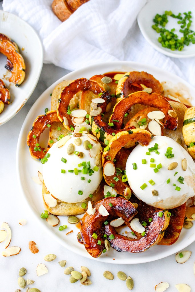 Burrata Toasts with Caramelized Delicata Squash & Toasted Pepitas
