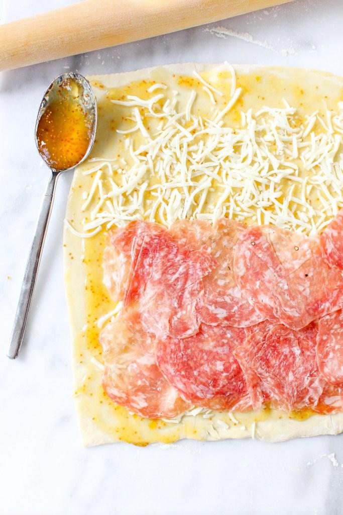 Soppressata, Goat Cheese, & Fig Pastry Pinwheels
