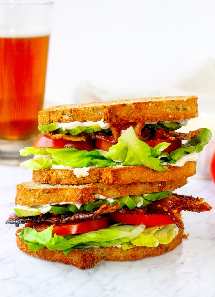 BLTs with Garlic Bacon, Avocado, & Lemon Mayo