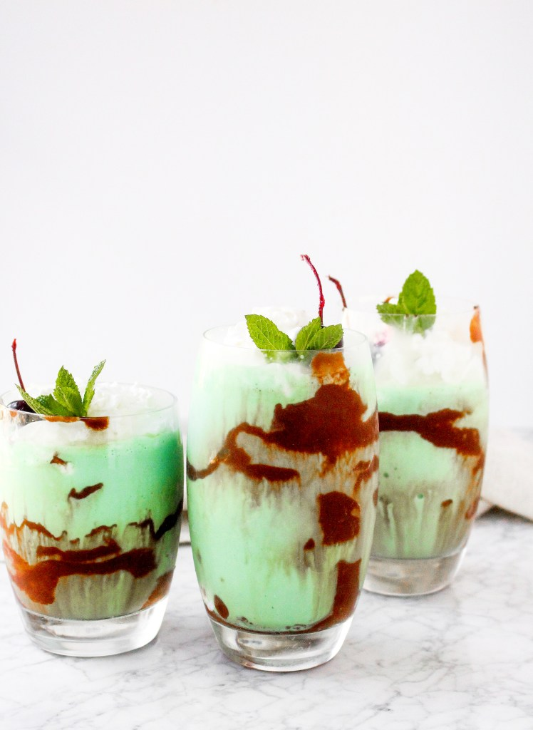 Boozy Homemade Shamrock Shakes with Guinness Hot Fudge