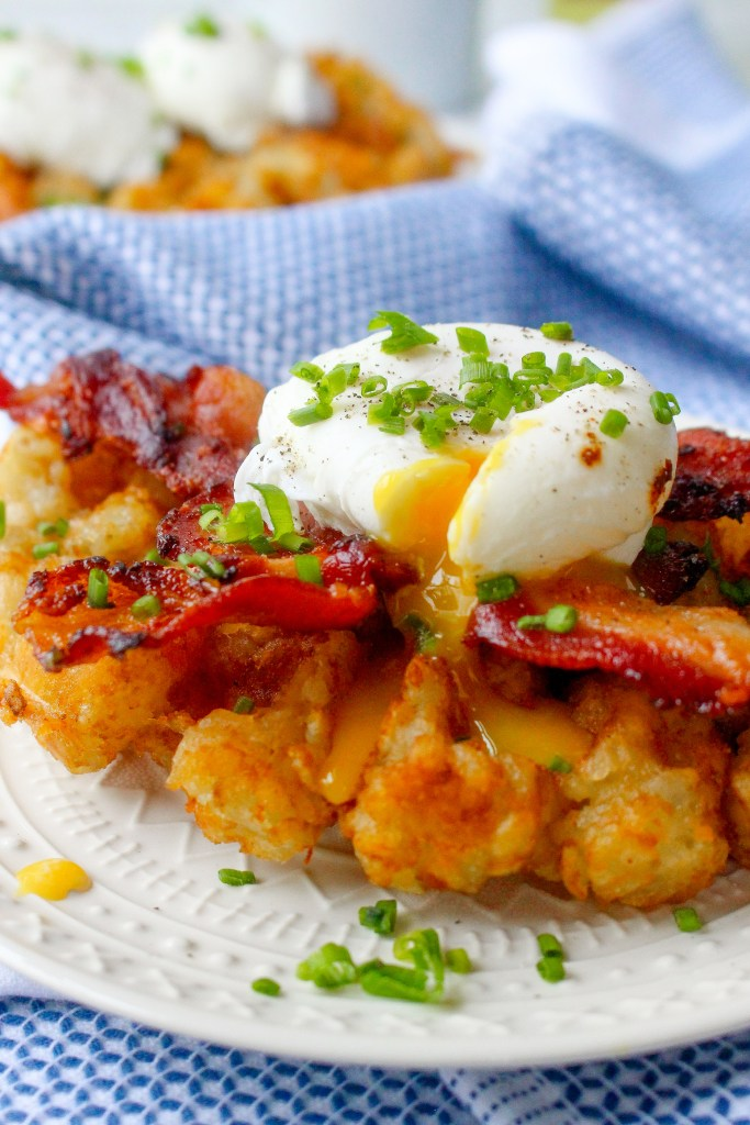 Tater Tot Waffles with Bacon, Eggs, & Truffle Oil