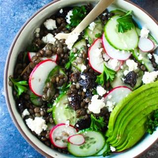 Herby Lentil Salad with Avocado & Feta