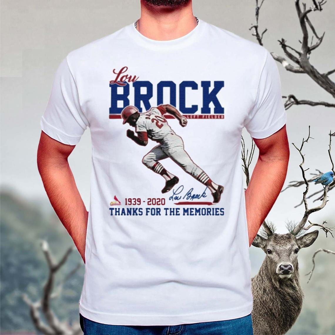 Lou-Brock-Left-Fielder-1939-2020-Thank-You-For-The-Memories-Signature-TShirt
