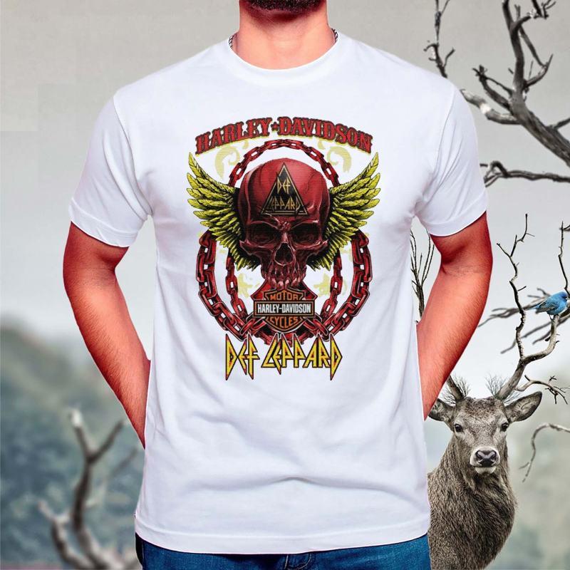 Skull-Angel-wings-Harley-Davidson-and-Def-Leppard-band-T-Shirts