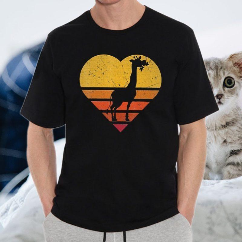 Vintage Giraffe Shirt Retro Color Love Shape Silho T-Shirts