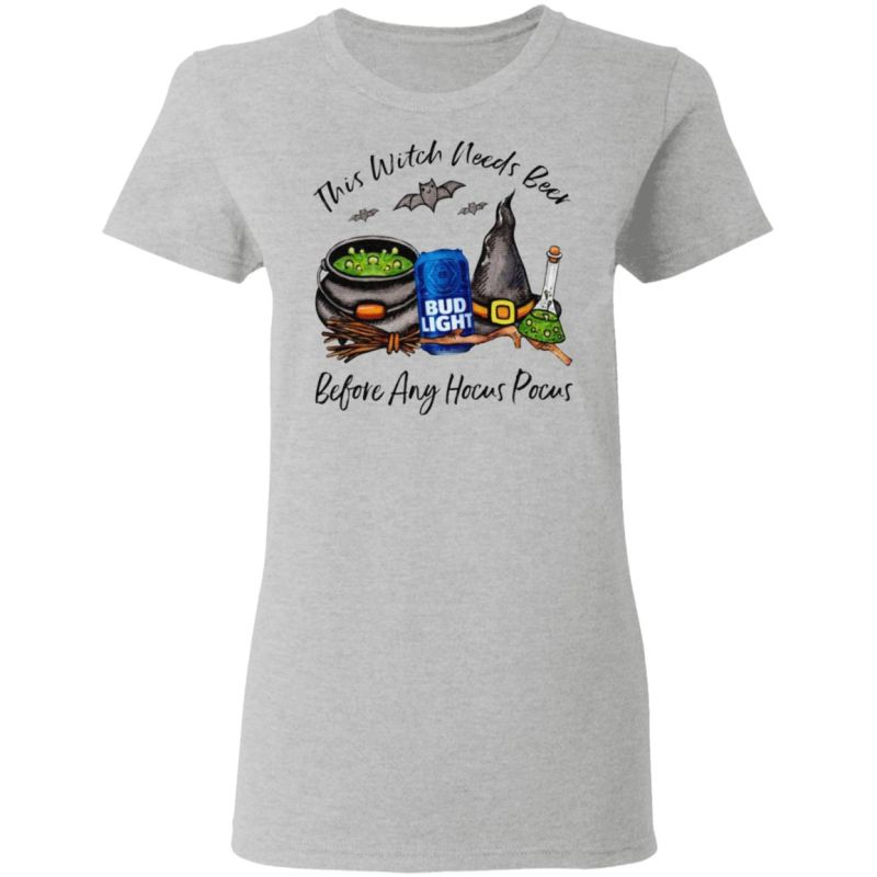 Bud Light Can This Witch Needs Beer Before Any Hocus Pocus T-Shirt