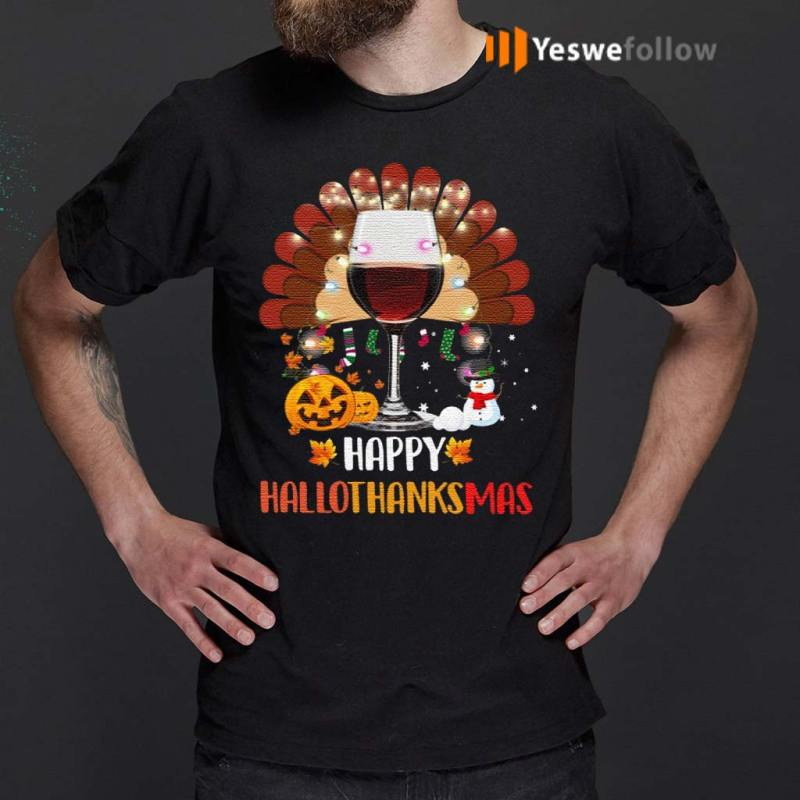 Wine-Turkey-Happy-Hallothanksmas-TShirt
