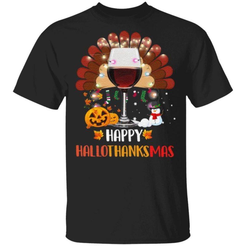 Wine Turkey Happy Hallothanksmas TShirt