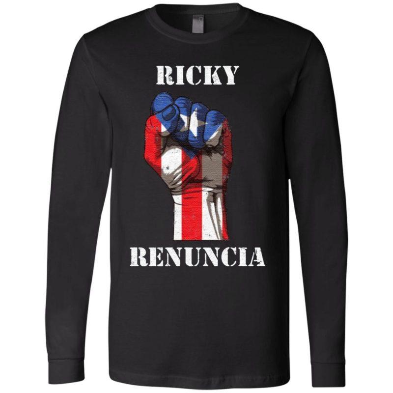 Ricky Renuncia Bandera Negra Puerto Rico Boricua Flag T-Shirt
