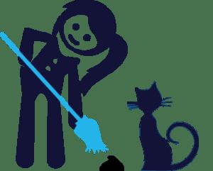 cuidadora de gatos en Madrid limpiando