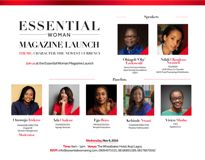 Essential Woman Magazine Announces Obiageli 'Oby' Ezekwesili as a speaker at Launch.