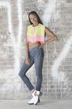 SariCycle Pink/Yellow Crop Top, embroidered silk chiffon. Model: Eni Maj