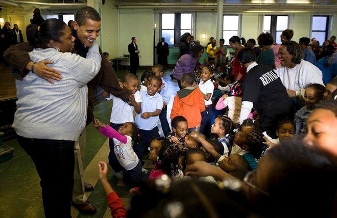 OBAMA USES THIS TIME HANDING OUT FOOD TO CREATE BLACK HEALING!