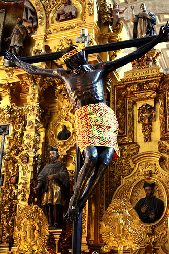 CRUCIFIXION OF BLACK JESUS,METROPOLITAN CATHEDRAL MEXICO CITY-THE FAMOUS BLACK CHRIST OF MEXICO!