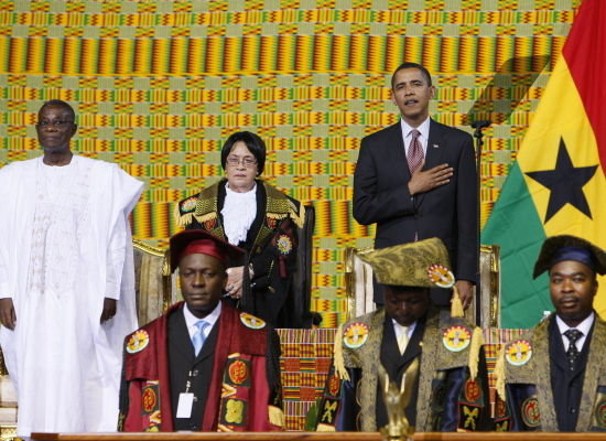 OUR BLACK PRESIDENT OF THE BLACK WORLD SAYING THE PLEDGE IN THE GHANA PARLIMENT