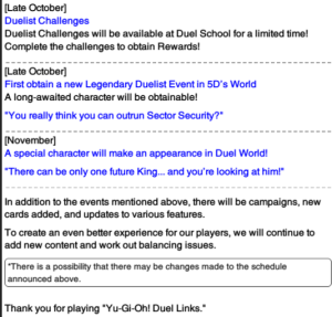 The Organization | [Duel Links] Future Updates