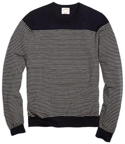 Merino Mariner Stripe Crew neck Sweater, $128.00