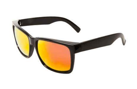 Black Opaque Plastic Surf Sunglasses with Multi Color Mirrored Lens, $12.99