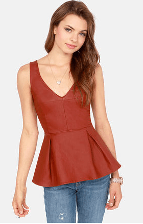 Rock 'n' Roll Princess Brick Red Peplum Top, $37.00