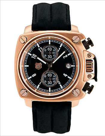 ANDREW MARC Men's Rose Gold Chronograph Watch with Black Leather Strap, $275.00