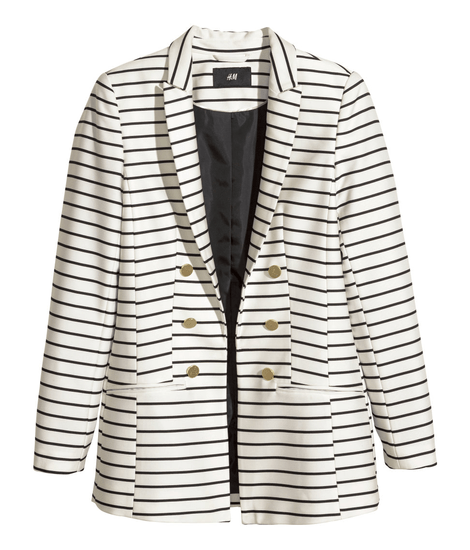 $49.95, Fitted Jacket- Black and White Stripes, H&M