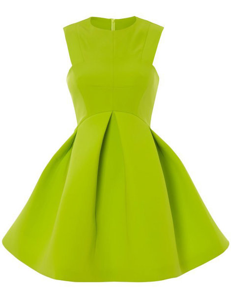 $23.41, Green Round Neck Sleeveless Ruffle Flare Dress, Sheinside.com