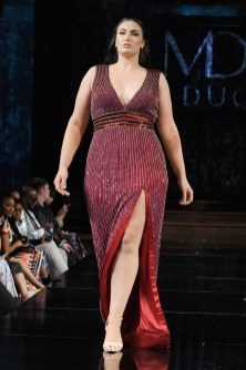 Model Arissa Seagal walks the runway for Mac Duggal, Spring/Summer 2018