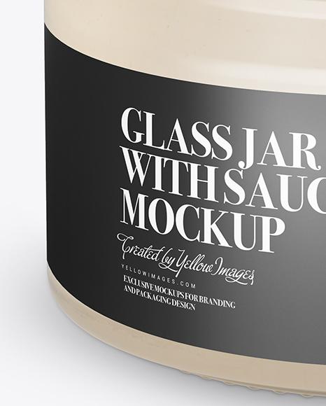 Download Clear Glass Garlic Sauce Jar Psd Mockup Yellow Images