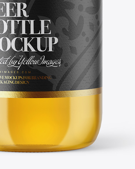 Download 500ml Clear Glass Lager Beer Bottle Psd Mockup Yellowimages