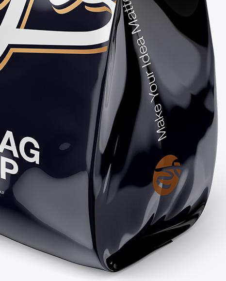 Download Glossy Metallic Bag Psd Mockup Half Side View High Angle Shot Yellow Images
