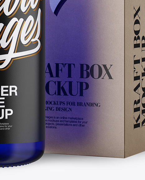 Download Blue Glass Dropper Bottle Box Psd Mockup Yellowimages