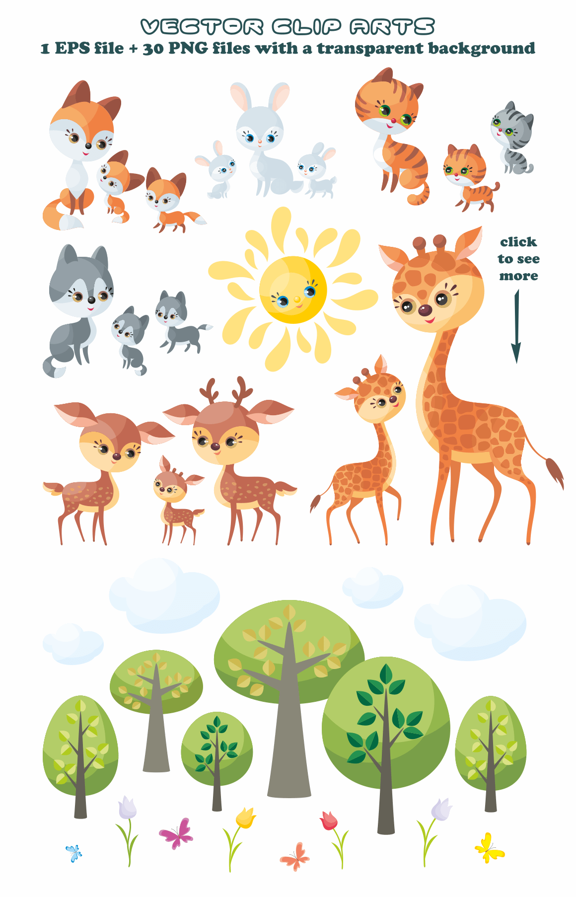 Cute Animals And Their Babies Vector Clip Arts In