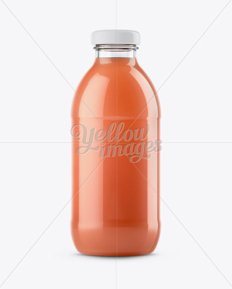Download Clear Glass Bottle With Orange Juice Psd Mockup Yellowimages