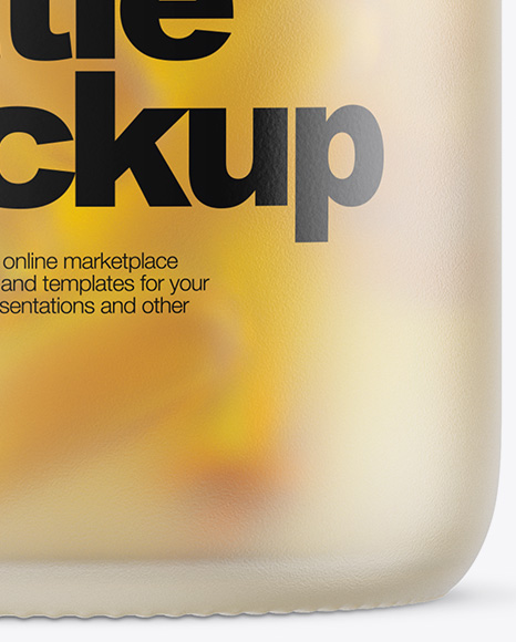 Download Green Bottle With Fish Oil Psd Mockup Yellow Images