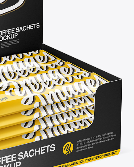 Download Box 18 Sachets Psd Mockup Yellow Images
