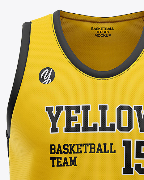 Men's U-Neck Basketball Jersey Mockup - Front View in ...