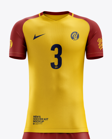 Download Lace Up Soccer T Shirt Mockup Halfside View Yellowimages