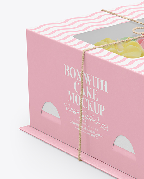Download Box with Cake Mockup in Box Mockups on Yellow Images ...