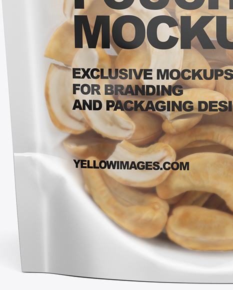 Download Glossy Transparent Stand Up Pouch Cashew Nuts Psd Mockup Yellowimages