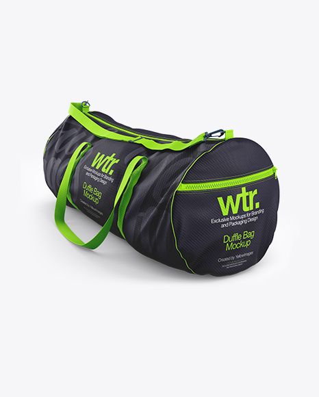 Present your awesome branding and advertising design projects on this highly detailed mockup of a duffle bag (halfside. Duffle Bag Mockup Halfside View In Apparel Mockups On Yellow Images Object Mockups