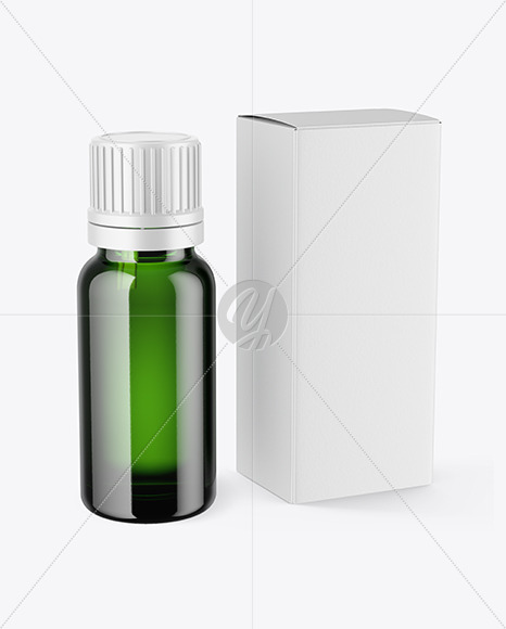 Download Green Glass Dropper Bottle Box Psd Mockup Yellowimages