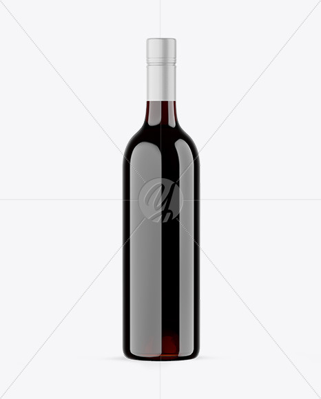 Download Amber Glass Bottle With Red Wine Psd Mockup Yellow Images