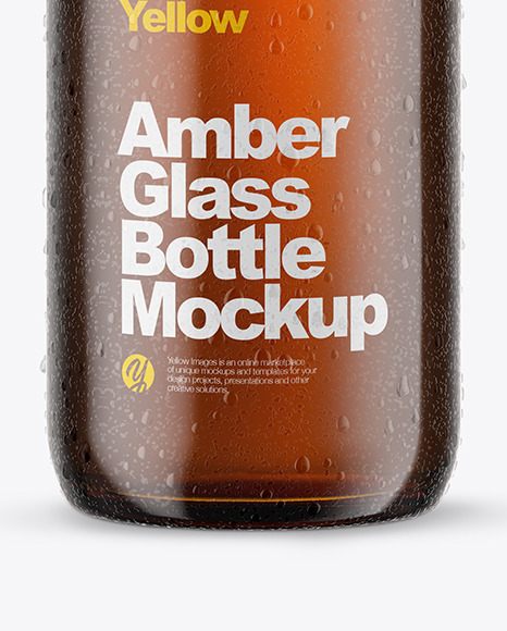 Download 100ml Amber Glass Bottle In Shrink Sleeve Psd Mockup Yellow Images